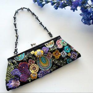 Beaded Floral Evening Clutch & Shoulder bag
